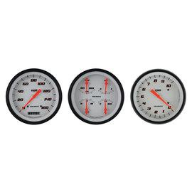 "Classic Instruments 3 Gauge Set - 4 5/8"" Speedo, Tach & Quad Gauges - Velocity White Series"