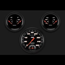 "Classic Instruments 3 Gauge Set - 4 5/8"" Speedtachular, Two 3 3/8"" Duals - Velocity Black Series - VS61BBLF"