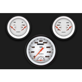 "Classic Instruments 3 Gauge Set - 4 5/8"" Speedtachular, Two 3 3/8"" Duals - Velocity White Series - VS61WBLF"