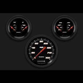"Classic Instruments 3 Gauge Set - 4 5/8"" Speedo, Two 3 3/8"" Duals - Velocity Black Series"