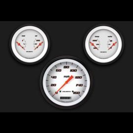 "Classic Instruments 3 Gauge Set - 4 5/8"" Speedo, Two 3 3/8"" Duals - Velocity White Series"