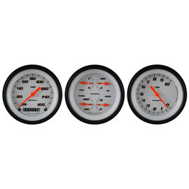 "Classic Instruments 3 Gauge Set - 3 3/8"" Speedo, Tach & Quad Gauges - Velocity White Series"
