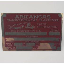Affordable Street Rods G9 Vin Tag - Arkansas Razorback Timing Association