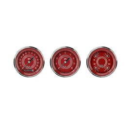 """Classic Instruments 3 Gauge Set - 3 3/8"""" Speedo, Tach & Quad Gauges - V8 Red Steelie Series - V8RS03SHC"""