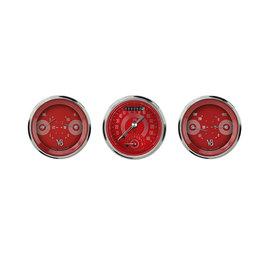 "Classic Instruments 3 Gauge Set - 3 3/8"" Ultimate Speedo & Two 3 3/8"" Duals - V8 Red Steelie Series - V8RS34SHC"