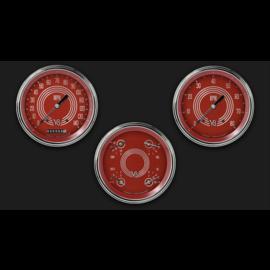 """Classic Instruments 3 Gauge Set - 4 5/8"""" Speedo, Tach & Quad Gauges - V8 Red Steelie - V8RS53SLC"""