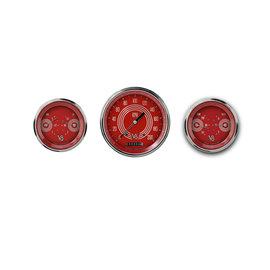 "Classic Instruments 3 Gauge Set - 4 5/8"" Speedo, Two 3 3/8"" Duals - V8 Red Steelie Series - V8RS64SLC"