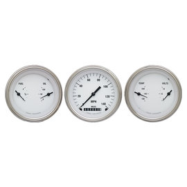 """Classic Instruments 3 Gauge Set - 3 3/8"""" Speedo & Two 3 3/8"""" Duals - White Hot Series - WH04SLF"""