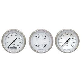 "Classic Instruments 3 Gauge Set - 3 3/8"" Speedo, Tach & Quad Gauges - White Hot Series"