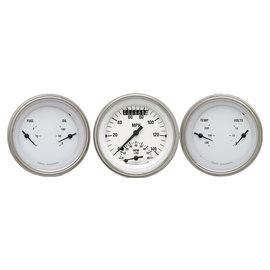 "Classic Instruments 3 Gauge Set - 3 3/8"" Ultimate Speedo & Two 3 3/8"" Duals - White Hot Series - WH34SLF"