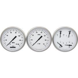 "Classic Instruments 3 Gauge Set - 4 5/8"" Speedo, Tach & Quad Gauges - White Hot Series"