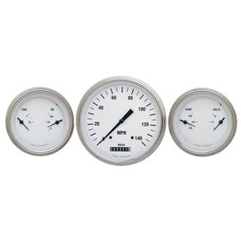 "Classic Instruments 3 Gauge Set - 4 5/8"" Speedo, Two 3 3/8"" Duals - White Hot Series"
