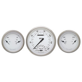 """Classic Instruments 3 Gauge Set - 4 5/8"""" Speedtachular, Two 3 3/8"""" Duals - White Hot Series - WH61SLF"""