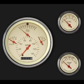 Classic Instruments 3 Gauge Set - Tetra Series - Tan - TE01TSLF