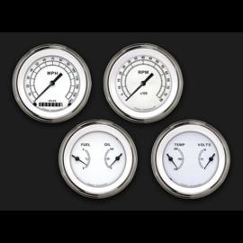"Classic Instruments 4 Gauge Set - 3 3/8"" Speedo, Tach, & 2 Duals - Classic White - CW05SLF"