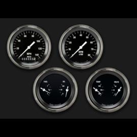 "Classic Instruments 4 Gauge Set - 3 3/8"" Speedo, Tach, & 2 Duals - Hot Rod"