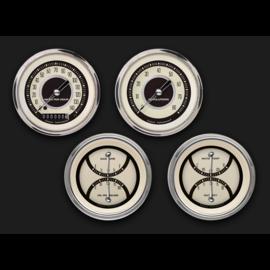 "Classic Instruments 4 Gauge Set - 3 3/8"" Speedo, Tach, & 2 Duals - Nostalgia Series - NT05SHC"