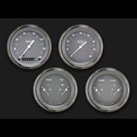 "Classic Instruments 4 Gauge Set - 3 3/8"" Speedo, Tach, & 2 Duals - Silver Gray Series - SG05SLF"