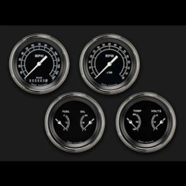 "Classic Instruments 4 Gauge Set - 3 3/8"" Speedo, Tach, & 2 Duals - Traditional Series - TR05SLF"