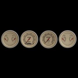 "Classic Instruments 4 Gauge Set - 3 3/8"" Speedo, Tach, & 2 Duals - Vintage Series - VT05SLF"