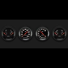 "Classic Instruments 4 Gauge Set - 3 3/8"" Speedo, Tach, & 2 Duals - Velocity Black Series"
