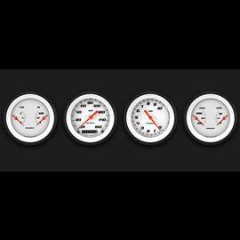 "Classic Instruments 4 Gauge Set - 3 3/8"" Speedo, Tach, & 2 Duals - Velocity White Series"