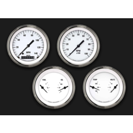 "Classic Instruments 4 Gauge Set - 3 3/8"" Speedo, Tach, & 2 Duals - White Hot Series"