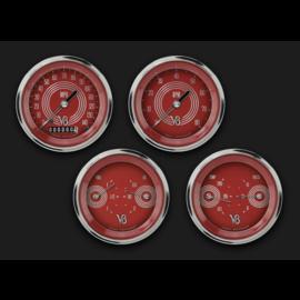 "Classic Instruments 4 Gauge Set - 3 3/8"" Speedo, Tach, & 2 Duals - V8 Red Steelie - V8RS05SHC"