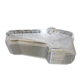 RPC 58-79 SBC Finned Aluminum Oil Pan – Driver Side Dipstick – Polished