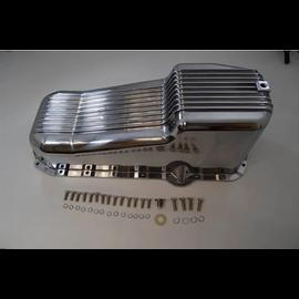 RPC 80-85 SBC Finned Aluminum Oil Pan – Passenger Side Dipstick – Polished
