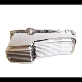 RPC 86-Up SBC Finned Aluminum Oil Pan – Passenger Side Dipstick – Polished