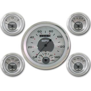 "Classic Instruments 5 Gauge Set - 4 5/8"" Speedtachular, 2 1/8"" Short Sweep FOTV - All American Series - AW65SRC"