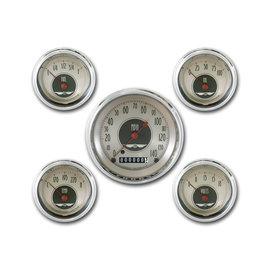 "Classic Instruments 5 Gauge Set - 3 3/8"" Speedo, 2 1/8"" Short Sweep FOTV - All American Nickel Series - AN00SHC"