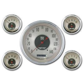 "Classic Instruments 5 Gauge Set - 4 5/8"" Speedo, 2 1/8"" Short Sweep FOTV - All American Nickel Series - AN54SLC"