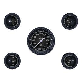 "Classic Instruments 5 Gauge Set - 3 3/8"" Speedo, 2 1/8"" Short Sweep FOTV - AutoCross Gray Series"