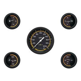 """Classic Instruments 5 Gauge Set - 3 3/8"""" Speedo, 2 1/8"""" Short Sweep FOTV - AutoCross Yellow Series"""
