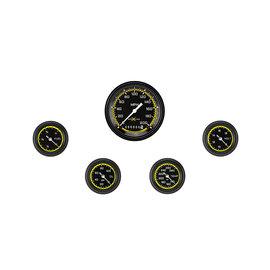 "Classic Instruments 5 Gauge Set - 3 3/8"" Speedo, 2 1/8"" Full Sweep FOTV - AutoCross Yellow Series"