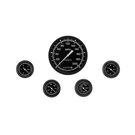 "Classic Instruments 5 Gauge Set - 4 5/8"" Speedo, 2 1/8"" Full Sweep FOTV - AutoCross Gray Series"
