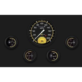 "Classic Instruments 5 Gauge Set - 4 5/8"" Speedtachular, 2 1/8"" Short Sweep FOTV - AutoCross Yellow Series - AX65YBLF"