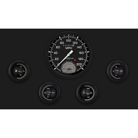 """Classic Instruments 5 Gauge Set - 4 5/8"""" Speedtachular, 2 1/8"""" Short Sweep FOTV - AutoCross Gray Series - AX65GBLF"""