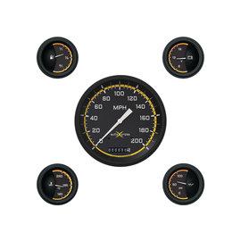 """Classic Instruments 5 Gauge Set - 4 5/8"""" Speedo, 2 1/8"""" Short Sweep FOTV - AutoCross Yellow Series"""