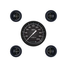 "Classic Instruments 5 Gauge Set - 4 5/8"" Speedo, 2 1/8"" Short Sweep FOTV - AutoCross Gray Series"