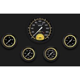 "Classic Instruments 5 Gauge Set - 4 5/8"" Speedtachular, 2 5/8"" Full Sweep FOTV - AutoCross Yellow Series - AX365YBLF"