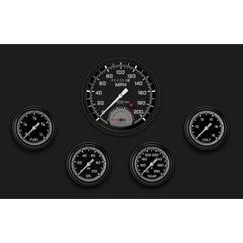 "Classic Instruments 5 Gauge Set - 4 5/8"" Speedtachular, 2 5/8"" Full Sweep FOTV - AutoCross Gray Series - AX365GBLF"