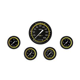 "Classic Instruments 5 Gauge Set - 4 5/8"" Speedo, 2 5/8"" Full Sweep FOTV - AutoCross Yellow Series"