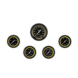 "Classic Instruments 5 Gauge Set - 3 3/8"" Speedo, 2 5/8"" Full Sweep FOTV - AutoCross Yellow Series"