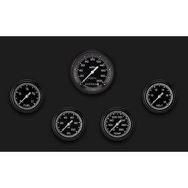 "Classic Instruments 5 Gauge Set - 3 3/8"" Speedo, 2 5/8"" Full Sweep FOTV - AutoCross Gray Series"