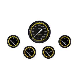 """Classic Instruments 5 Gauge Set - 4 5/8"""" Speedo, 2 5/8"""" Short Sweep FOTV - AutoCross Yellow Series"""