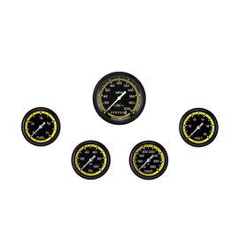 """Classic Instruments 5 Gauge Set - 3 3/8"""" Speedo, 2 5/8"""" Short Sweep FOTV - AutoCross Yellow Series"""
