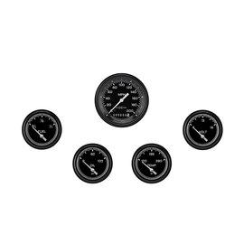 "Classic Instruments 5 Gauge Set - 3 3/8"" Speedo, 2 5/8"" Short Sweep FOTV - AutoCross Gray Series"